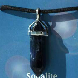 Crystal Energy Truth Sodalite 6-faceted double terminated crystal Pendant (has cord)