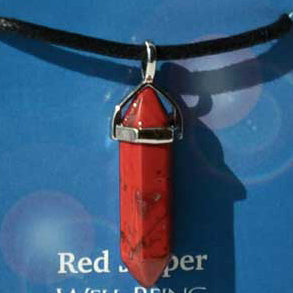 Crystal Energy Well Being Red Jasper 6-faceted double terminated crystal Pendant (has cord)