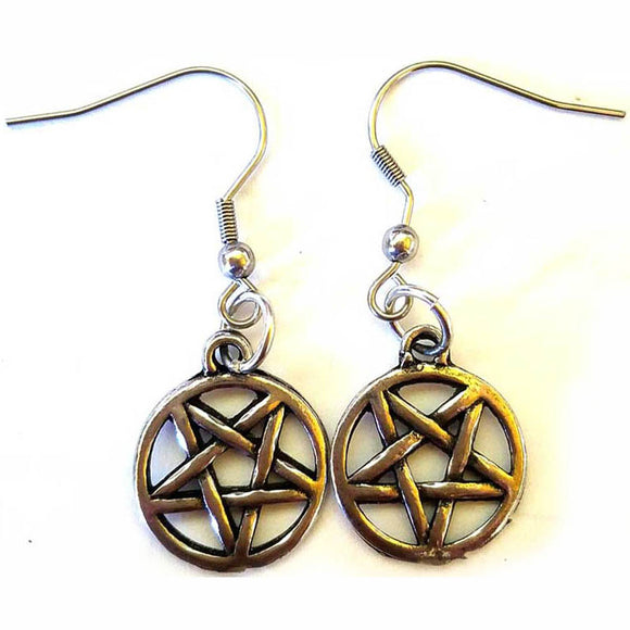 Wire-hooked Inverted Pentacle Pewter Earrings