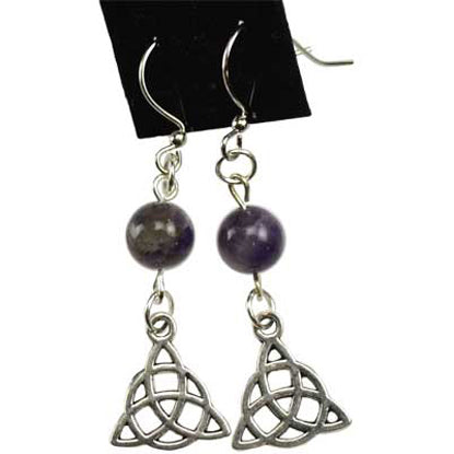 Amethyst & Pewter Triquetra Charm Earrings