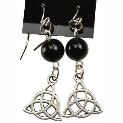 Black Onyx & Pewter Triquetra Charm Earrings
