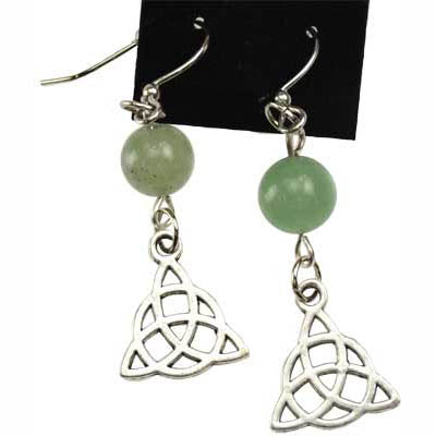 Green Aventurine & Pewter Triquetra Charm Earrings
