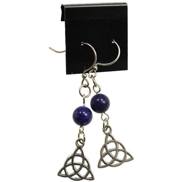 Lapis Lazuli & Pewter Triquetra Charm Earrings