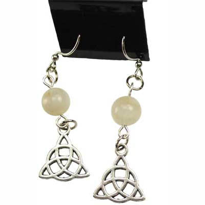 Moonstone & Pewter Triquetra Charm Earrings