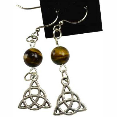 Tiger's Eye & Pewter Triquetra Charm Earrings