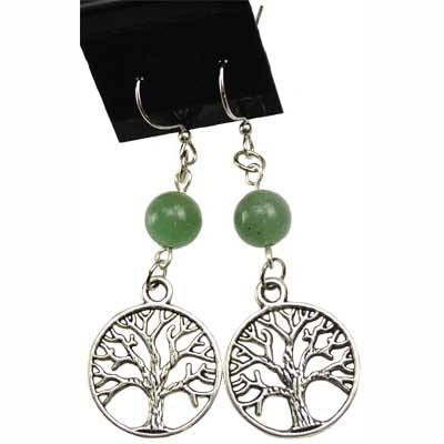 Green Aventurine & Pewter Tree of Life Charm Earrings