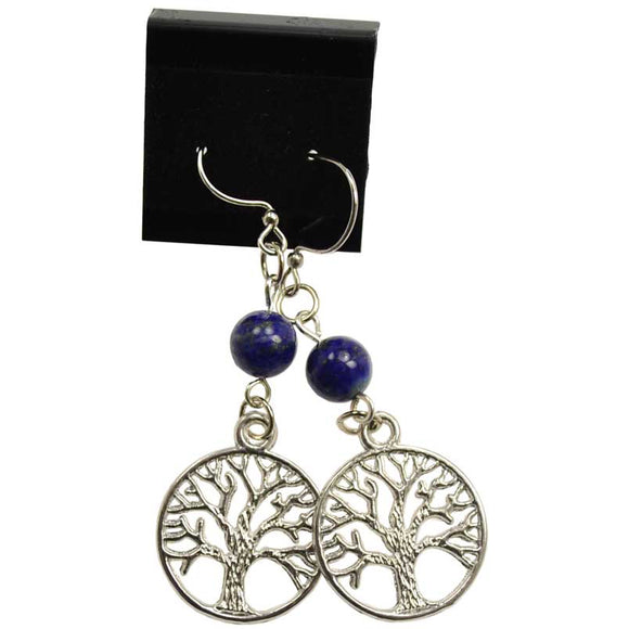 Lapis Lazuli & Pewter Tree of Life Charm Earrings