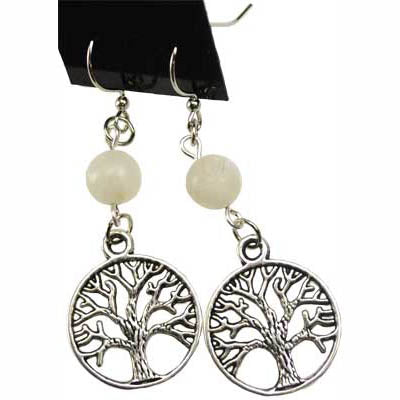 Moonstone & Pewter Tree of Life Charm Earrings