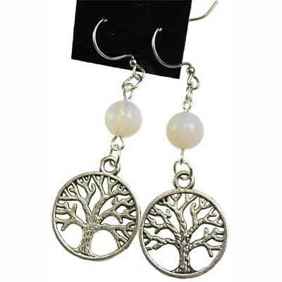 Opalite & Pewter Tree of Life Charm Earrings