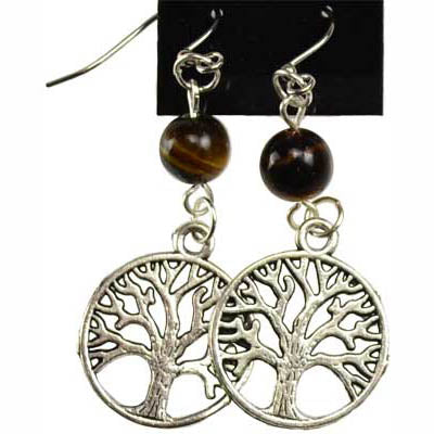 Tiger's Eye & Pewter Tree of Life Charm Earrings
