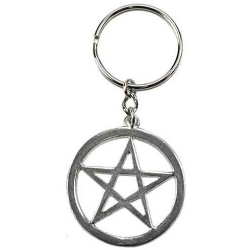 Pewter Pentacle Keychain