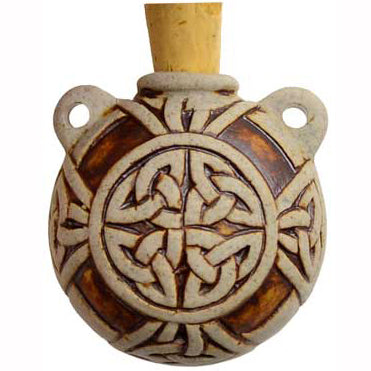 Celtic Knot Raku Oil Bottle Vial Pendant