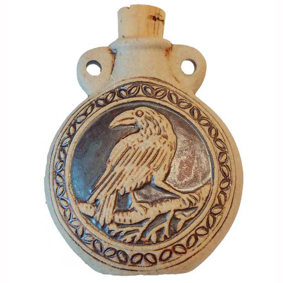 Raven Raku Clay Oil Bottle Vial Pendant
