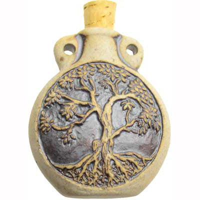 Tree of Life Clay Oil Bottle Vial Pendant