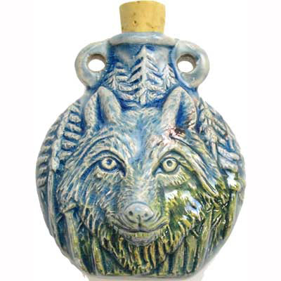 Wolf Raku Clay Oil Bottle Vial Pendant