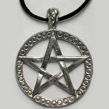 Large Silver Heavy-weight Double-sided Pentacle Pendant (has cord)
