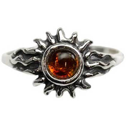Sterling Silver Amber Gemstone Sun Ring