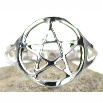 Silver Plated Pentacle Ring