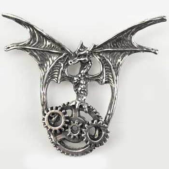 Steampunk Dragon Pewter Pendant (has cord)