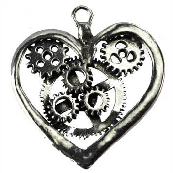 Steampunk Heart Pewter Pendant