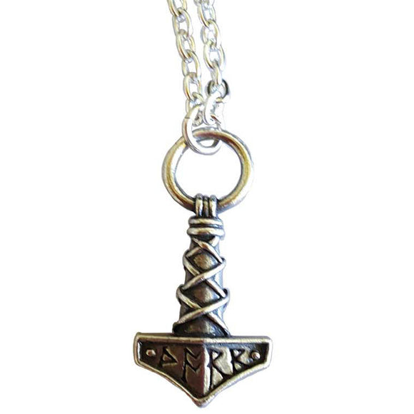 Thor's Hammer Mjolnir Runic Amulet Pewter Pendant (has chain)