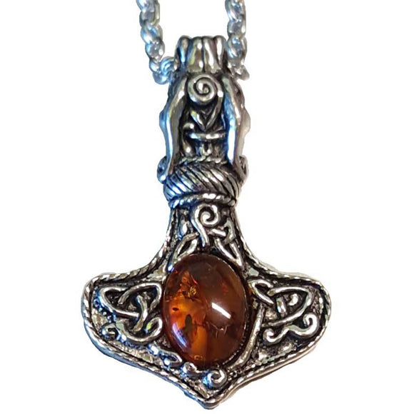 Dragon & Celtic Knot Mjolnir with Amber Amulet Pendant (has chain)