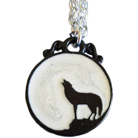 Black Wolf Pewter & Enamel Pendant (has chain)
