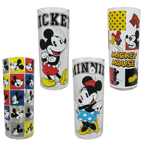 Mickey Mouse and Minnie Mouse Disney Glass Tumbler (10oz) 4-Pack - Official Silver Buffalo Barware :: Mental XS Online