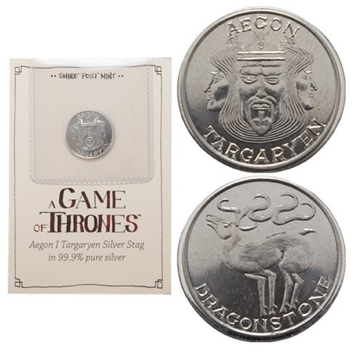 Game of Thrones Aegon Targaryen Silver Stag Coin - Official Shire Post Mint :: Mental XS Online