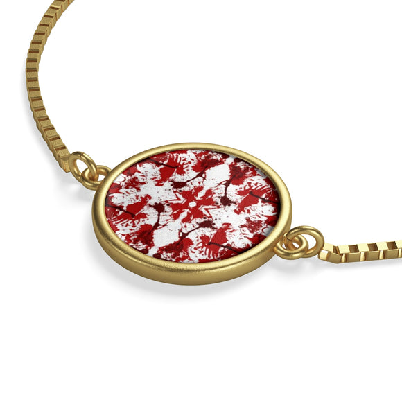 18K Gold Box Chain Bracelet with Red Butterfly Kaleidoscope Coin Charm :: Mental XS Online EXCLUSIVE