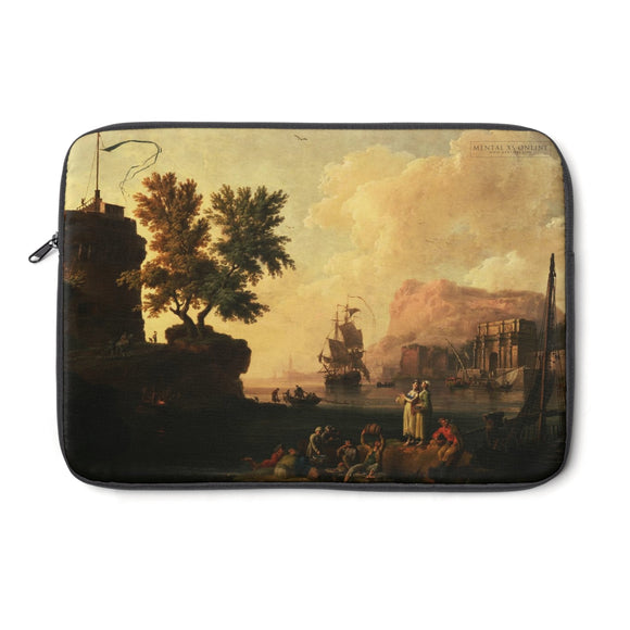 Mediterranean Harbor Scene by Pierre-Jacques Volaire Laptop Sleeve from Mental XS Online