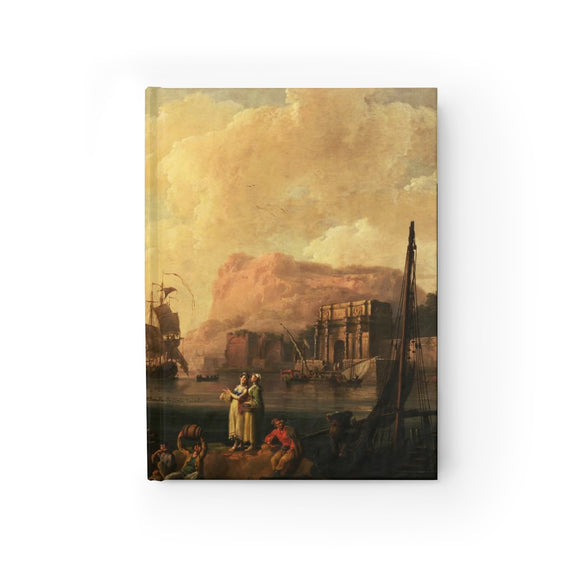 Mediterranean Harbor Scene by Pierre-Jacques Volaire Hardcover Lined Journal 8