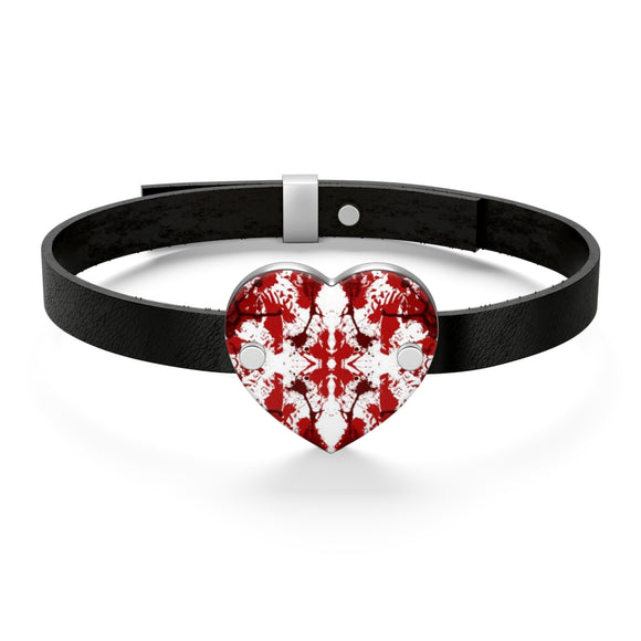 Black Leather Cuff Bracelet with Red Butterfly Kaleidoscope Heart Charm