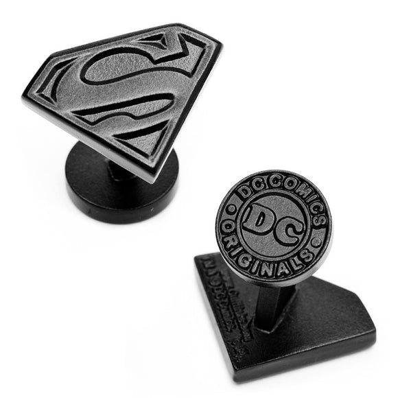 Superman Shield Satin Black Cufflinks - Official Cufflinks Inc :: Mental XS Online