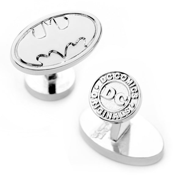 DC Comics - Batman Logo Silver Oval Cufflinks - Official Cufflinks Inc :: Mental XS Online