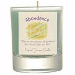 Crystal Journey Candles Aqua Abundance Soy Herbal Votive Glass Candle 2½