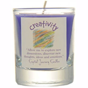 Crystal Journey Candles Purple Creativity Herbal Soy Votive Glass Candle 2½""