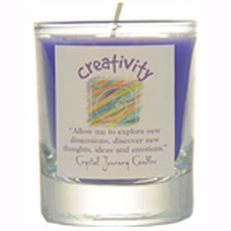 Crystal Journey Candles Purple Creativity Herbal Soy Votive Glass Candle 2½