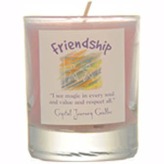 Crystal Journey Candles Pink Friendship Herbal Soy Votive Glass Candle 2½