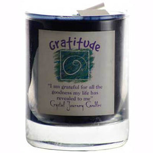 Crystal Journey Candles Dark Blue Gratitude Herbal Soy Votive Glass Candle 2½""