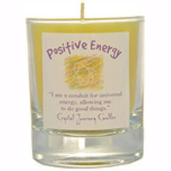 Crystal Journey Candles Yellow Positive Energy Herbal Soy Votive Glass Candle 2½