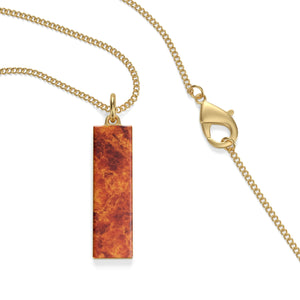 "18K Gold Plated Fire Cartouche Pendant ¼"" x ⅞"" (has chain)"