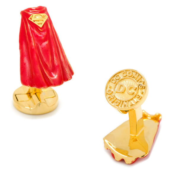 Superman Cape 3D Red & Gold Cufflinks - Official Cufflinks Inc :: Mental XS Online