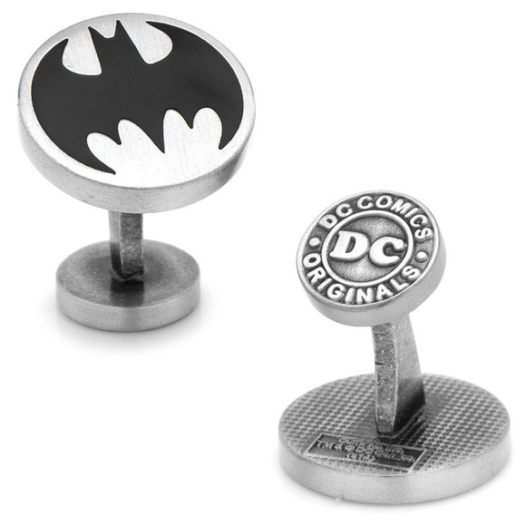 DC Comics Batman Vintage Logo Antique Finish Silver Cufflinks - Official Cufflinks Inc :: Mental XS Online
