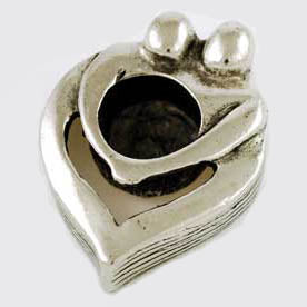 Silver Couple's Heart Chime Candle Holder