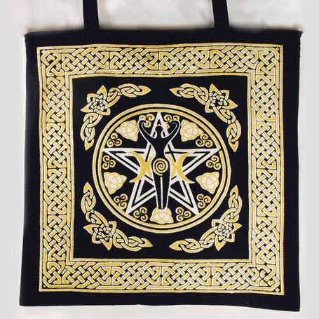 Yellow & Black Pentacle Goddess with Celtic Knotwork Cotton Tote Bag 18