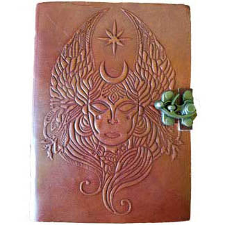 Moon Goddess Embossed Wrap-around Leather Unlined Journal with Latch :: Mental XS Online