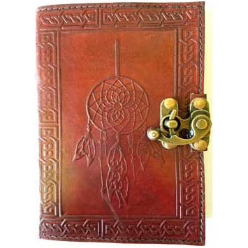 Dreamcatcher with Celtic Knotwork Embossed Leather Unlined Journal with Latch (7