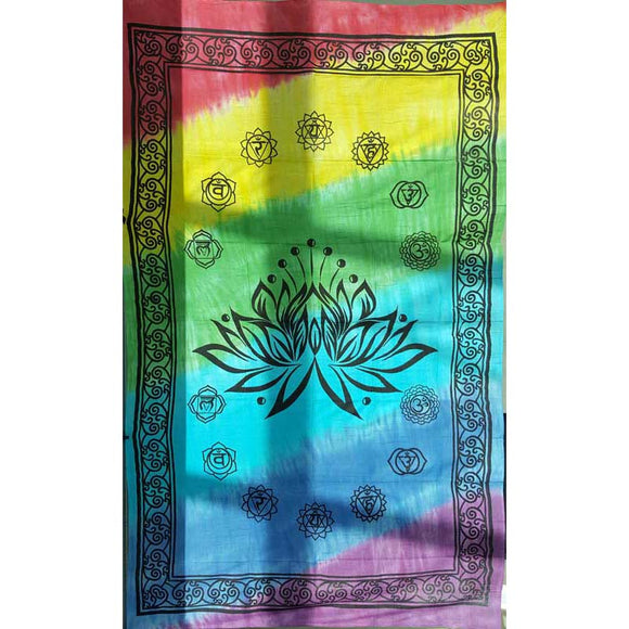 Lotus 7-Chakra Tie-dyed Tapestry 72