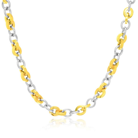 14K Two-Tone Gold Stylish Round Link Necklace
